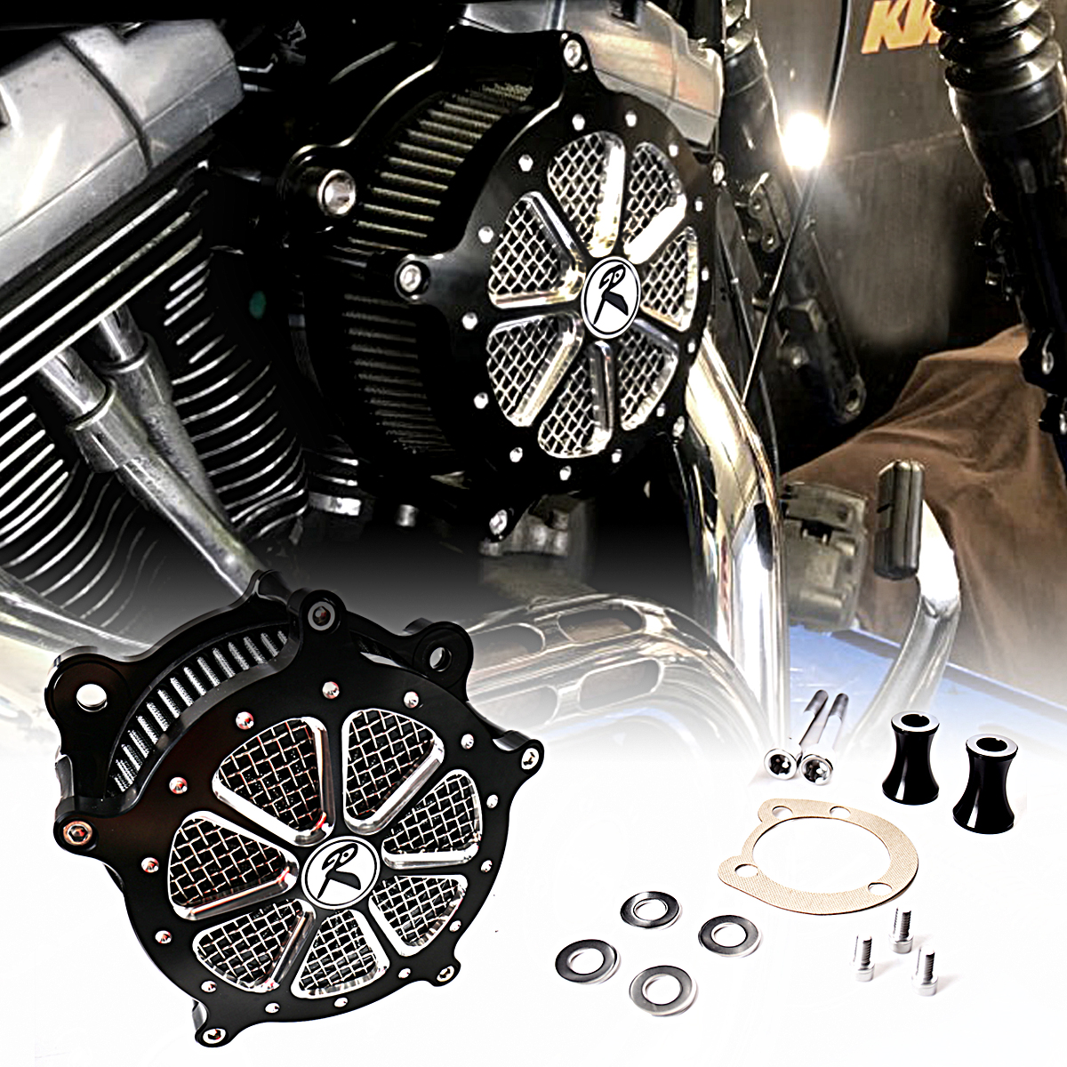 Shallow Cut Billet Aluminum Air Cleaner Intake Filter System Fit For Harley Softail Dyna 1993-2013 Models